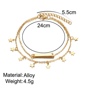 Multi Layer Star Pendant Anklet Foot Chain 2018 New Yoga Beach Leg Bracelet Charm Anklets Jewelry