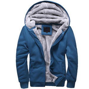 Winter Thicken Hoodie Men Zipper Hooded Coat Mens Tracksuit Sweatshirt Solid Color Thick Warm Hoodies