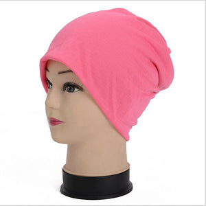 Winter Beanies Cotton Blended Beanie Slouch Warm Hat Solid Color Bonnet Hats