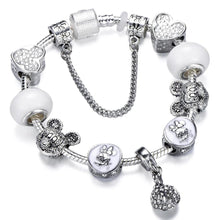 Charms Bracelet Bangle Crystal Flower Fairy Bead For Women Jewelry