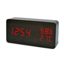 Wooden LED Alarm Clock, with Temperature and Humidity Display