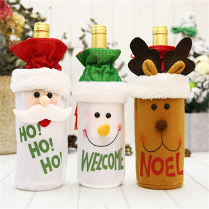 FREE SHIPPING 1PC Wine Cover Christmas Decorations Santa Claus Snowman Gift