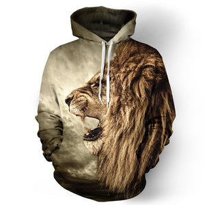 Autumn Winter Fashion Lion Digital Printing Men/Women Hooded Hoodies Windbreaker Sweatshirts
