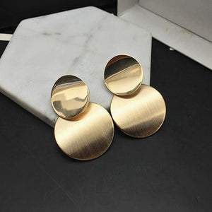 2018 Gold Silver Color Geometric Circle Metal Earrings