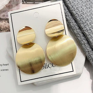 2019 Gold Silver Color Geometric Circle Metal Earrings