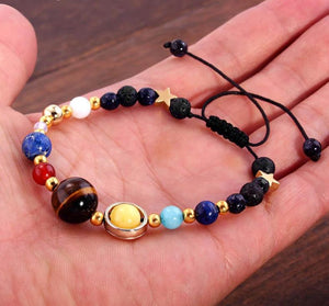 Universe Galaxy Eight Planets Bracelet Star Lava Reiki Natural Stone Beads Energy