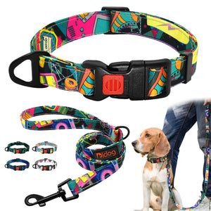 Stylish Printed Nylon Pet Collar and Leash Set