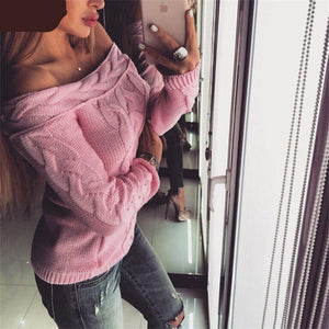 2018 Autumn Knitted Sweater Women Off Shoulder Long Sleeve Pullover