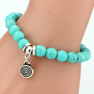 Vintage Turquoises Charms Bracelet Lovely Tree Snake Owl Pendants Bracelets Bangles for Women Jewelry