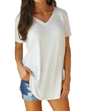 Women's T-shirt Solid V Neck