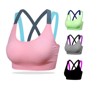 Sport Women Shirt  Running Sport T-shirt Gym Stitching Color Yoga Top Bra