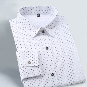 2021 Men Slim Fit Long Sleeve Shirt Polka Dot Casual