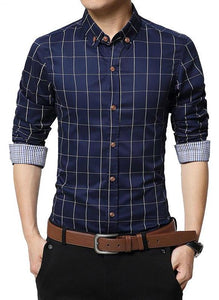 Autumn Men Clothes Slim Fit Men Long Sleeve Shirt Men Plaid Cotton Casual