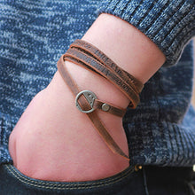 2018 New Fashion Brown Genuine Leather Wrap Bracelet  Multi-layer Bracelets bangles for Women/Men