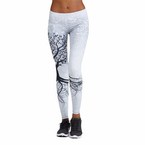 Sports Fitness Yoga Leggings Women's White Printed Running Tights Sportswear Elastic Quick Dry Jogging