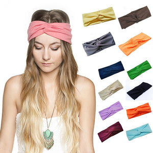 Hair Accessories Twist Elasticity Turban Headbands for Women Sport Yoga Hairbands Bows Girls