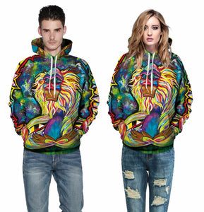 Spring Autumn Thin Hooded Hoodies Men/women 3d Sweatshirts With Cap Print Wizard Clown Oil Printing Hoody Hoodies