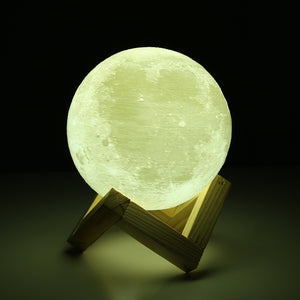 Rechargeable 3D Print Moon Lamp - 2 Color Change - Touch Switch