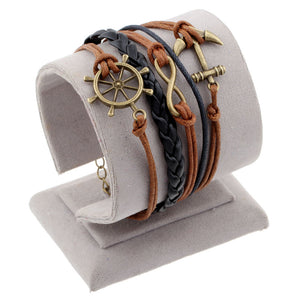 Vintage Bird Owls Anchor Bracelets Wrap Leather Bracelet
