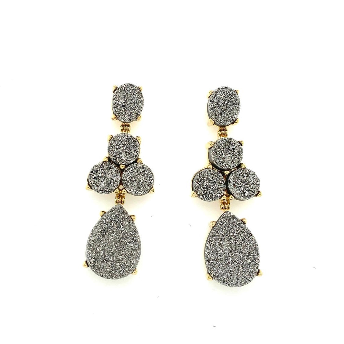 Soiree Earrings Gold / Platinum Druse
