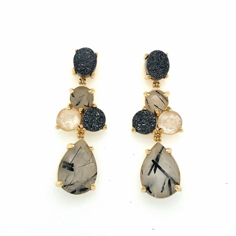 Soiree Earrings Grafit Quartz / Titanium Druse