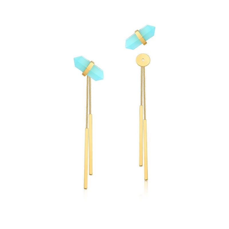 Petite Pierre Blue Agate Earrings