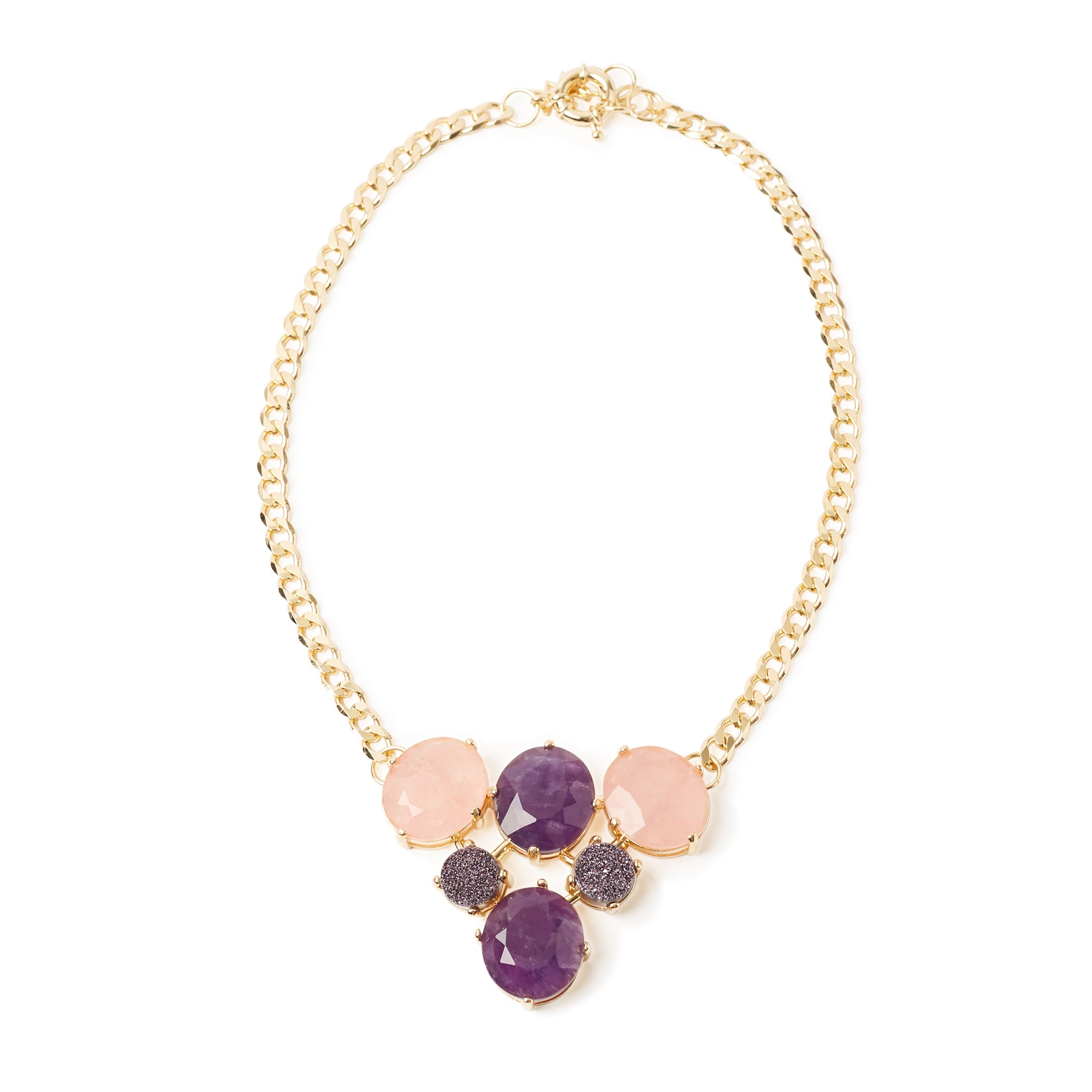Tramonto Necklace Amethyst Pink Quartz Colored Druse