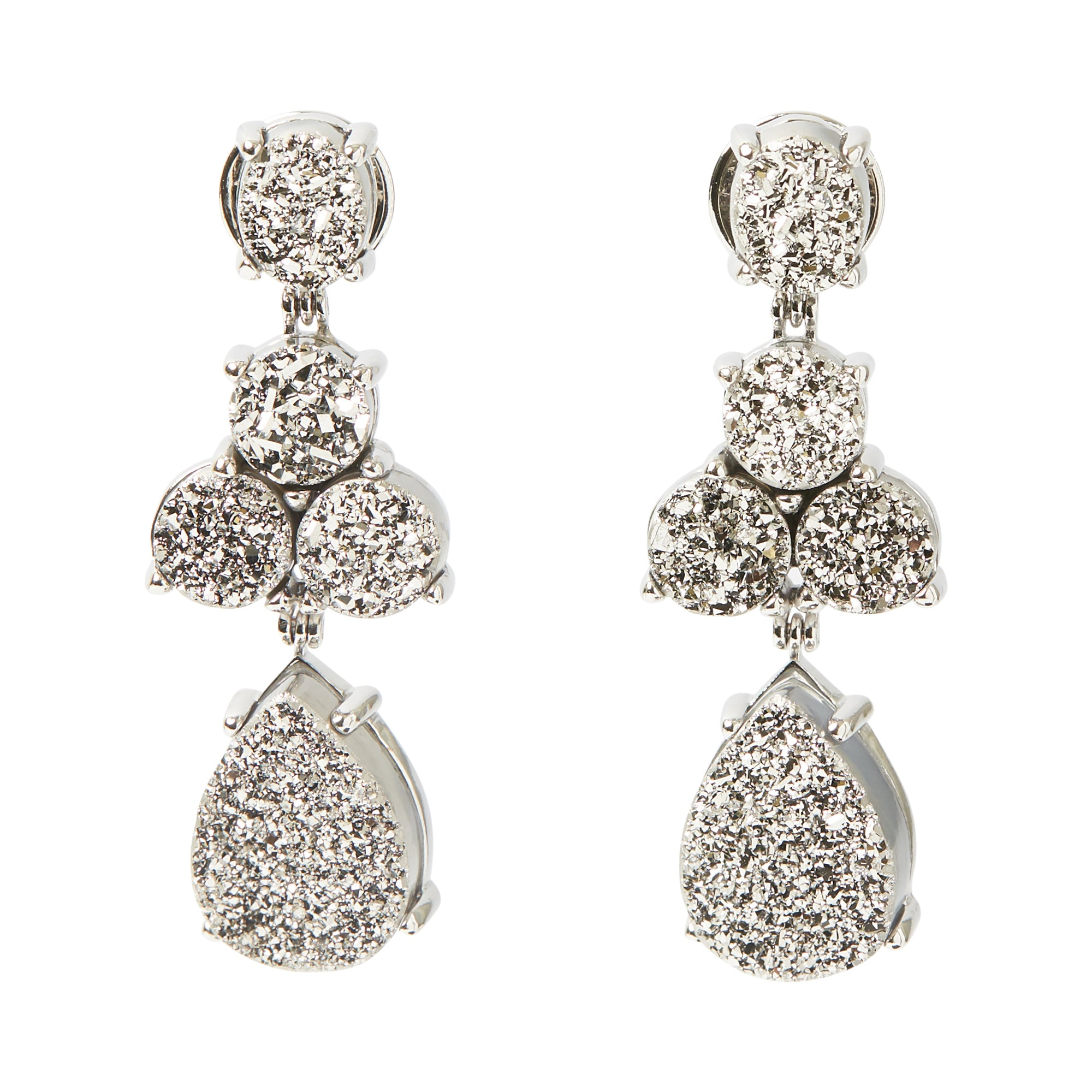Soiree Earrings Druse Platinum