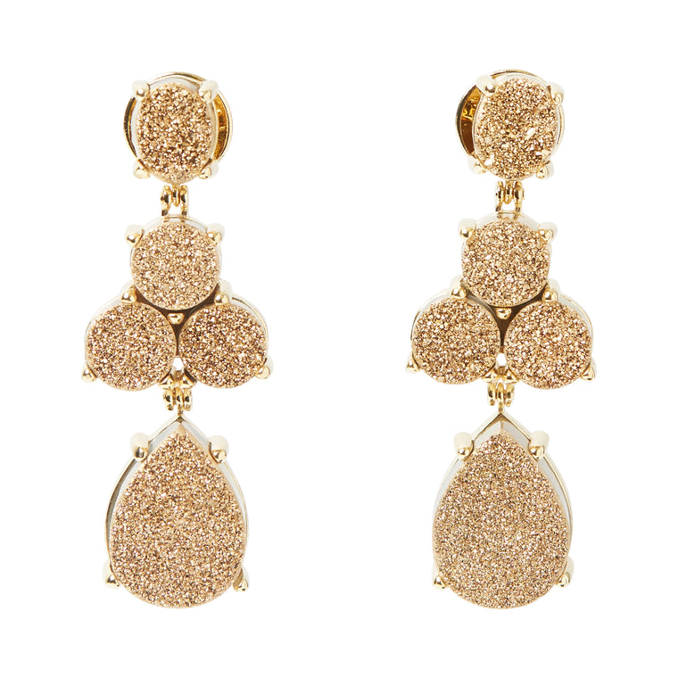 Soiree Earrings Druse Gold