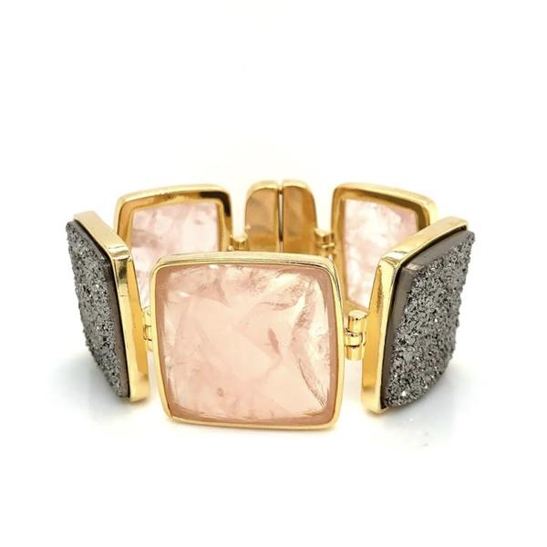 Serata Pink Quartz and Druse Bracelet