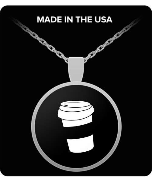 Silver Plated Coffee Necklace - For the True Coffee Lover - Black