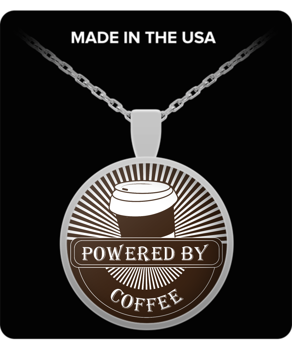 """Powered by Coffee"" - Silver Plated Coffee Lover Necklace - Brown Background"