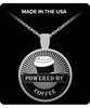 """Powered by Coffee"" Silver Plated Coffee Lover Necklace - Black"