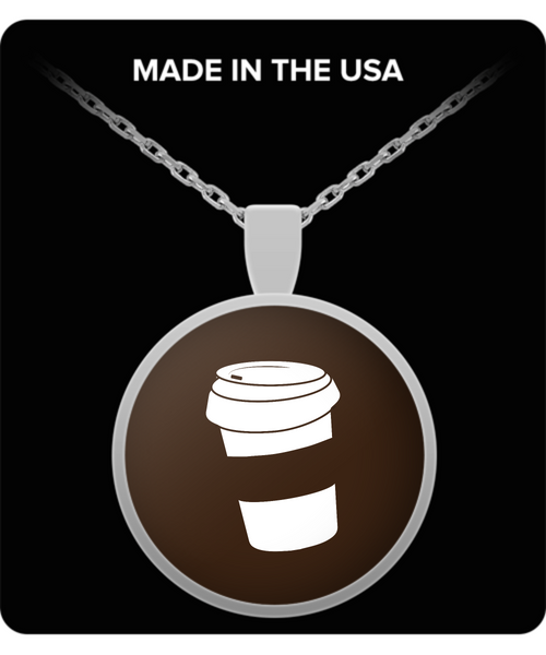 Silver Plated Coffee Necklace for the True Coffee Lover - Brown