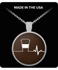 Coffee Heartbeat Silver Plated Necklace - Brown Background