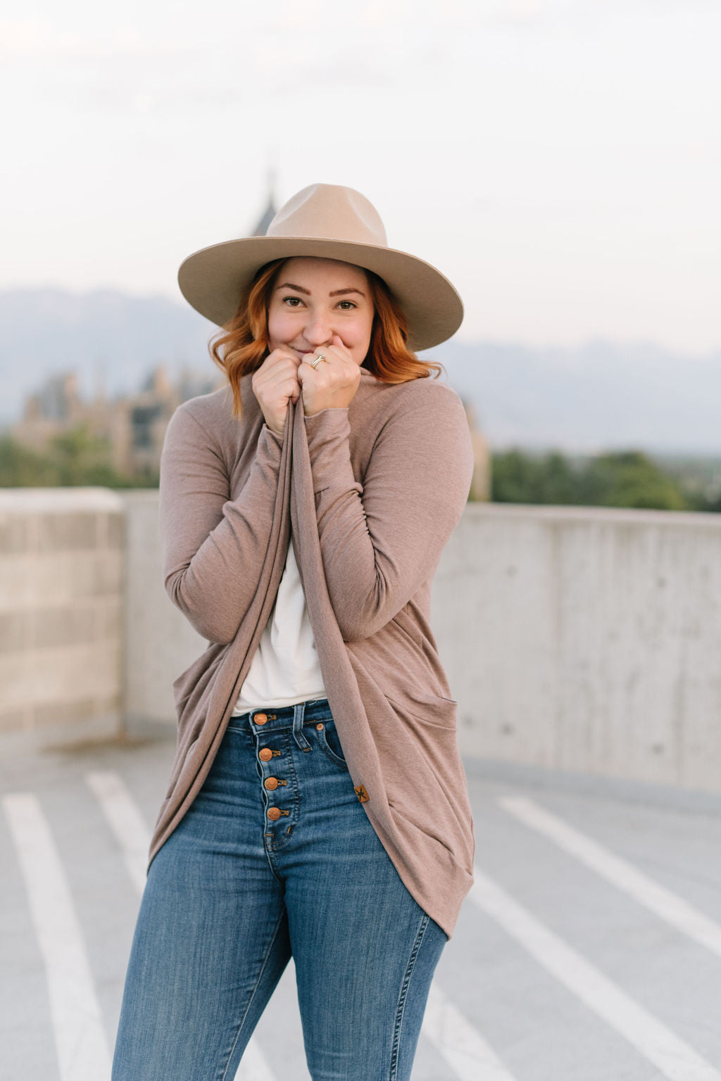 Heathered Taupe Bamboo Slouchy Cardigan