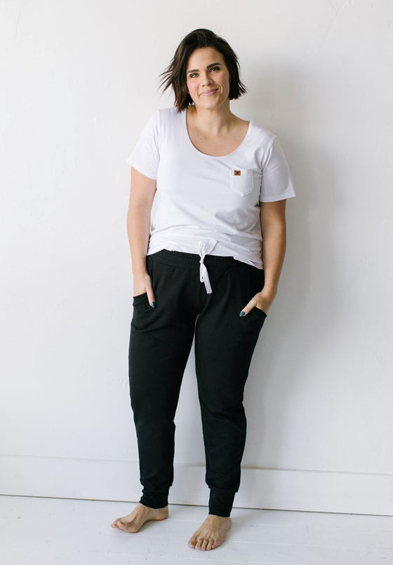 Women's Simple Black Slim Bamboo Jogger