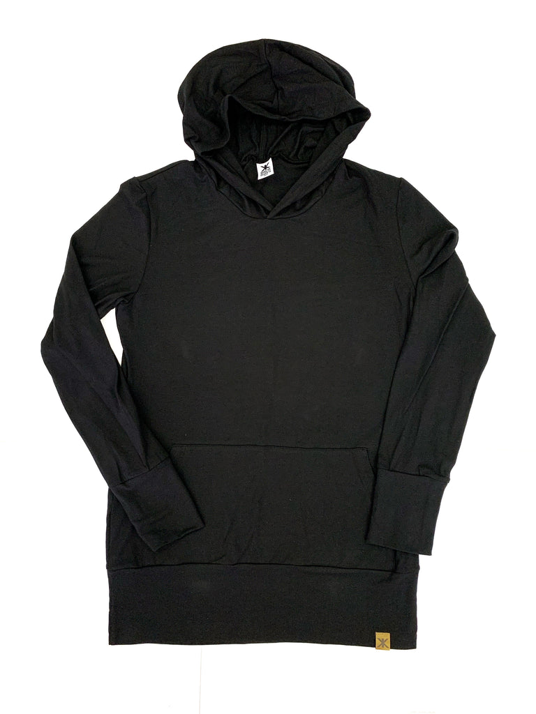 Simple Black Bamboo Hoodie - Women's