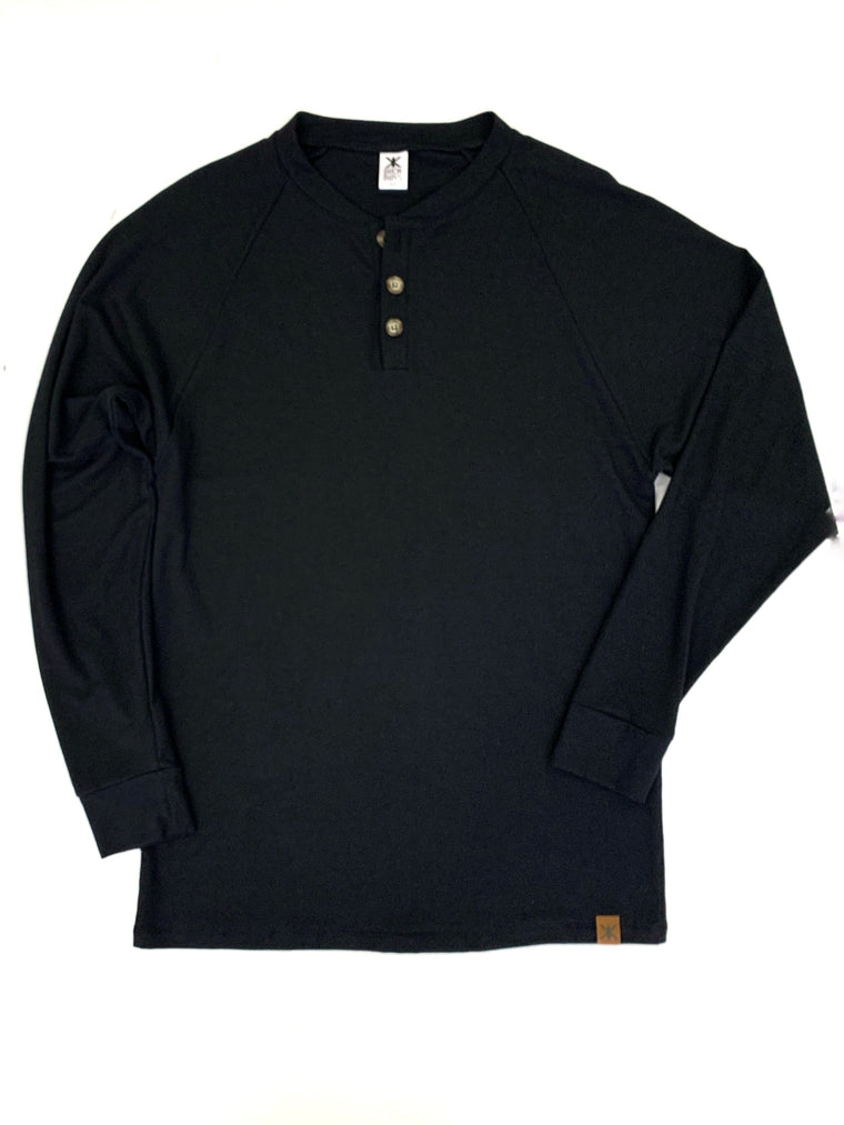 Men's Black Bamboo Henley Top