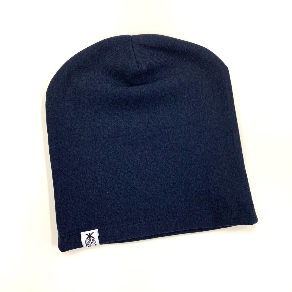 Navy Fleece Bamboo Slouchy Hat - 3/12mth and Adult Small ONLY