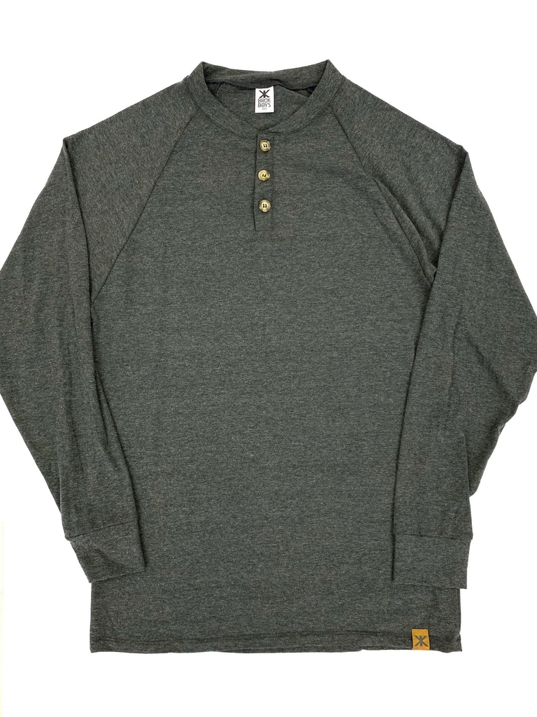 Men's Coal Bamboo Henley Top