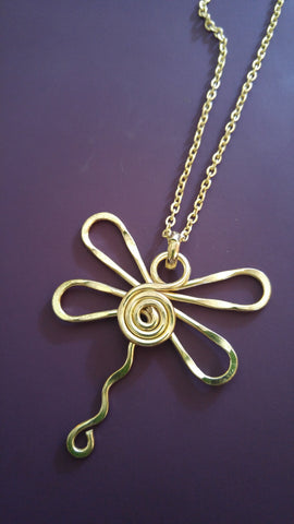 Gold Plate Swirl Dragonfly Necklace