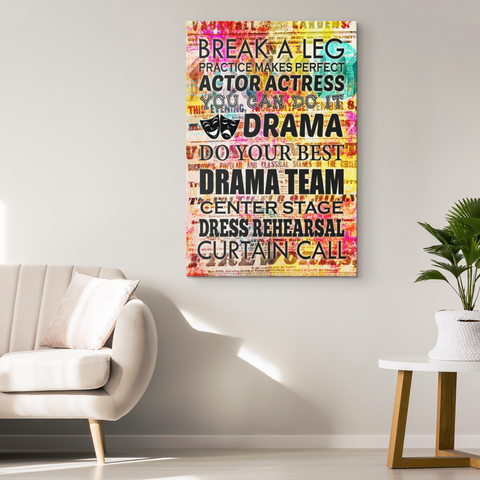 Canvas Wall Art: Drama Quotes on Colorful Playbill