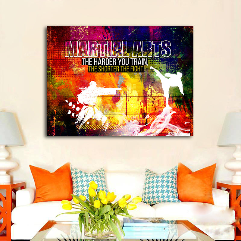 Martial Arts - The Harder You Train The Shorter The Fight - Wall Canvas by Treasureopolis.com
