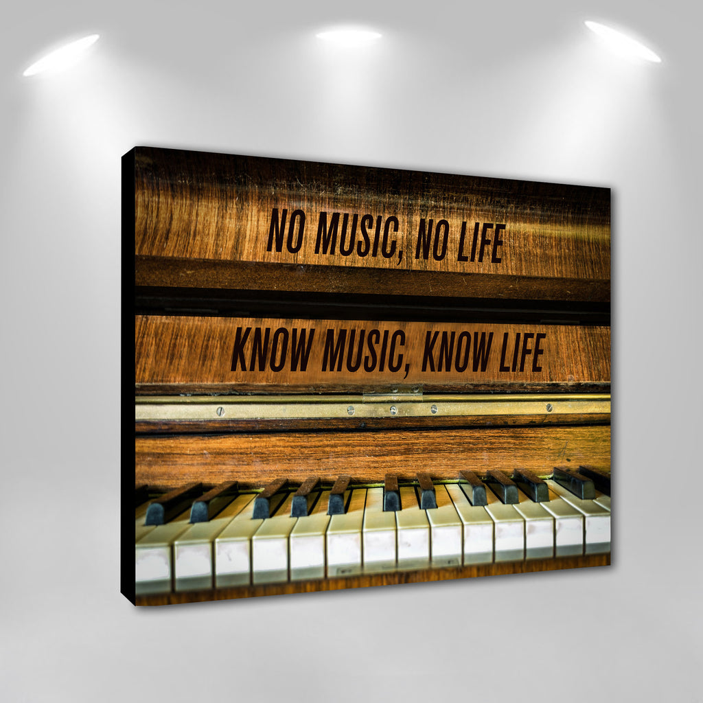 "Music Canvas Wall Art: ""No Music No Life Know Music Know Life"""