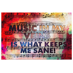 Canvas Wall Decor: Music In My Veins Is What Keeps Me Sane!