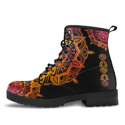Orange Mandala Boots (Dark)