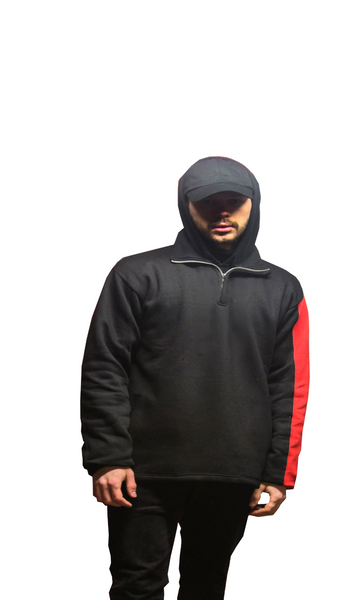 Black w/ Red Half Sleeve Pullover