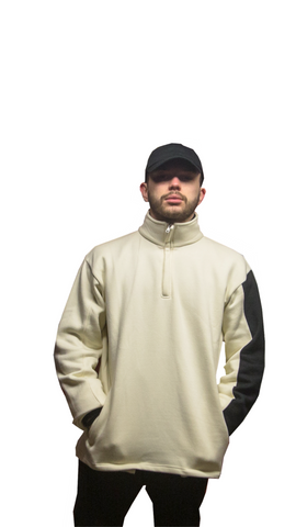 Cream w/ Black Half Sleeve Pullover