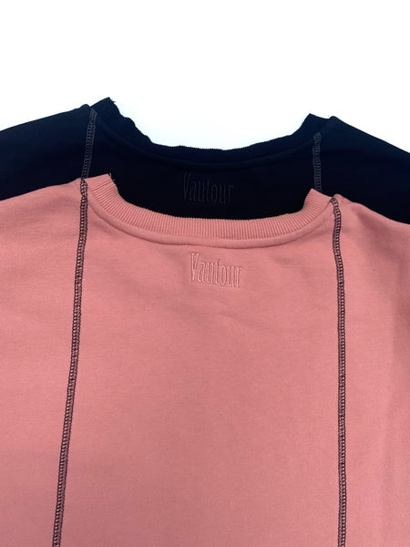Raw Hem French Terry Tee - Salmon